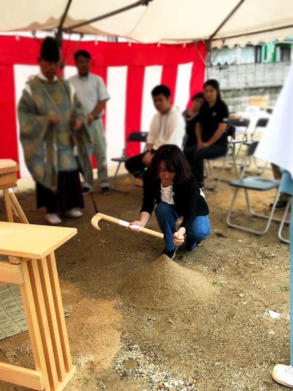 堺市の地鎮祭の事例_鍬入れの儀1